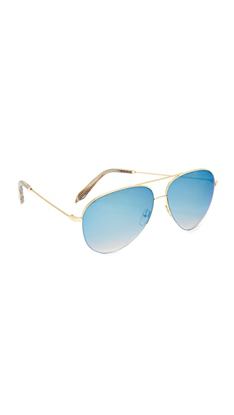 Victoria Beckham Classic Victoria Aviator Sunglasses - Gold/Flash Blue