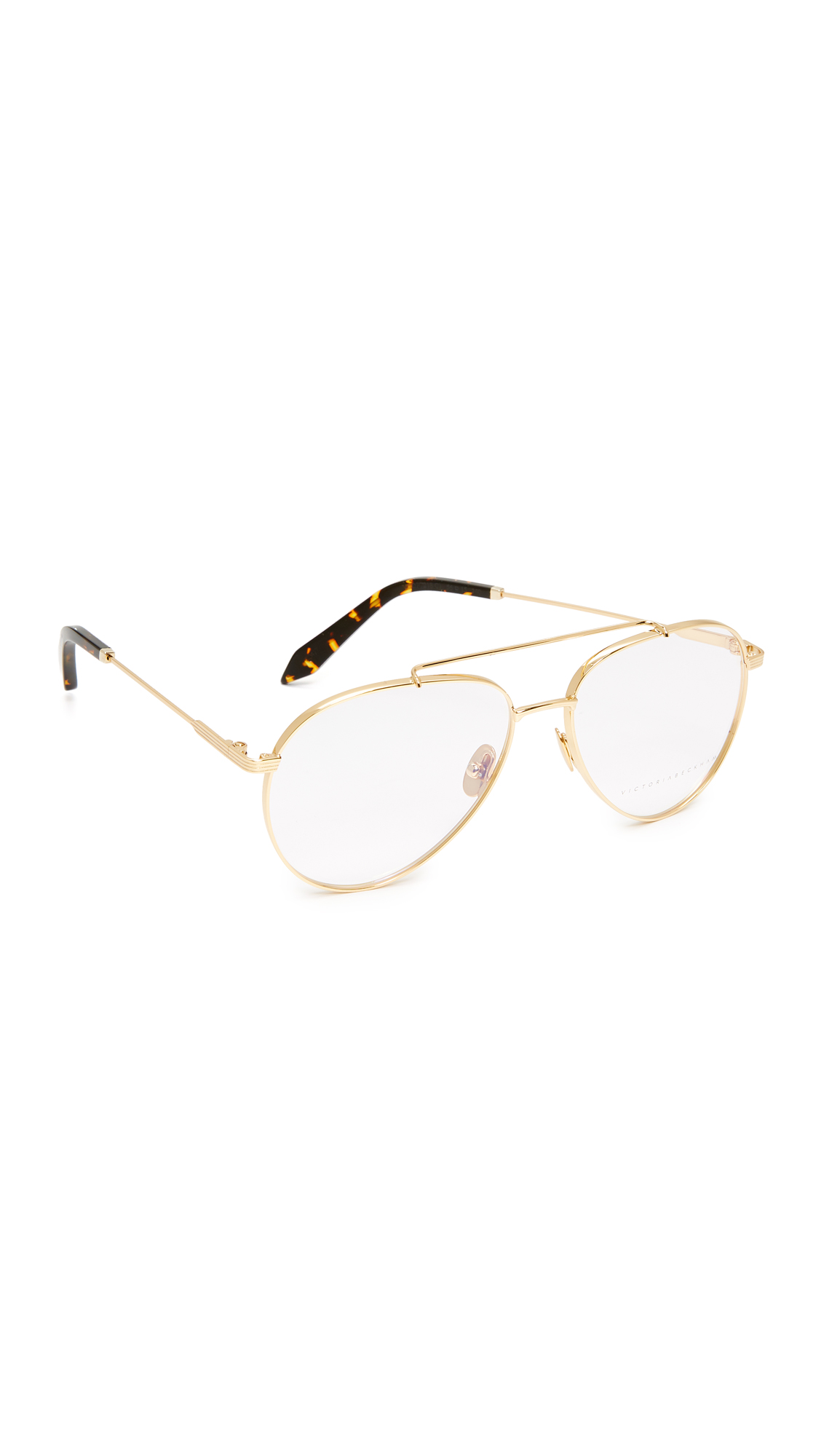 Victoria Beckham Grooved Aviator Glasses - Gold/Clear