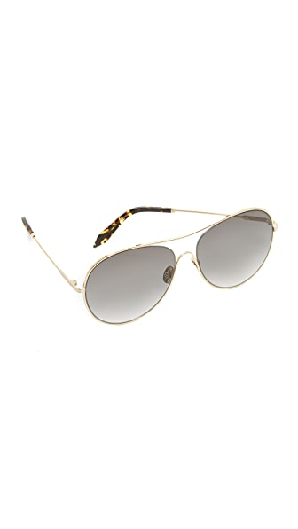 Victoria Beckham Loop Round Aviator Sunglasses - Gold/Galaxy