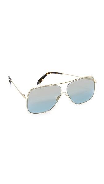 Victoria Beckham Loop Navigator Sunglasses - Silver/Celeste