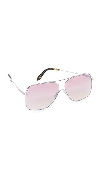 Victoria Beckham Loop Navigator Sunglasses - Gold/Luna