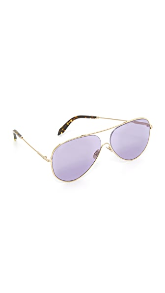 Victoria Beckham Loop Aviator Sunglasses - Gold/Rose Blue