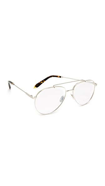 Victoria Beckham Grooved Aviator Glasses - Silver/Clear