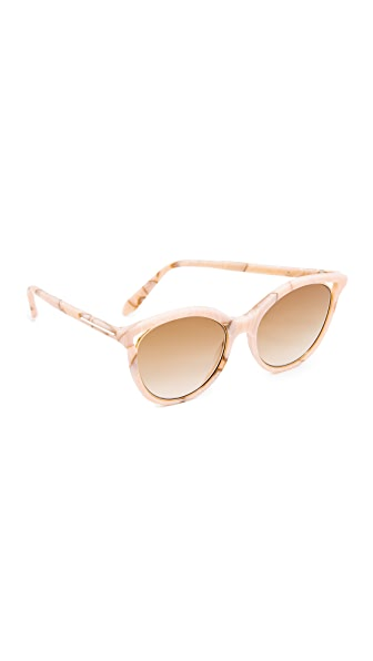 Victoria Beckham Cut Away Kitten Sunglasses - Pink Marble/Brown