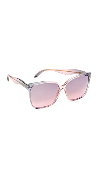 Victoria Beckham Fine Square Wave Sunglasses - Wash Dove Pink/Purple