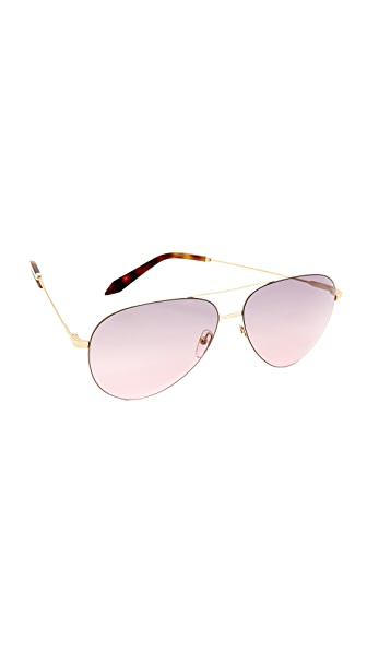Victoria Beckham Classic Victoria Feather Aviator Sunglasses - Gold/Dove Pink