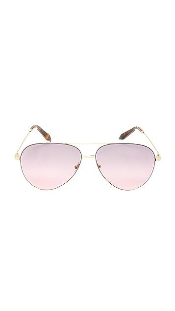 Victoria Beckham Classic Victoria Feather Aviator Sunglasses