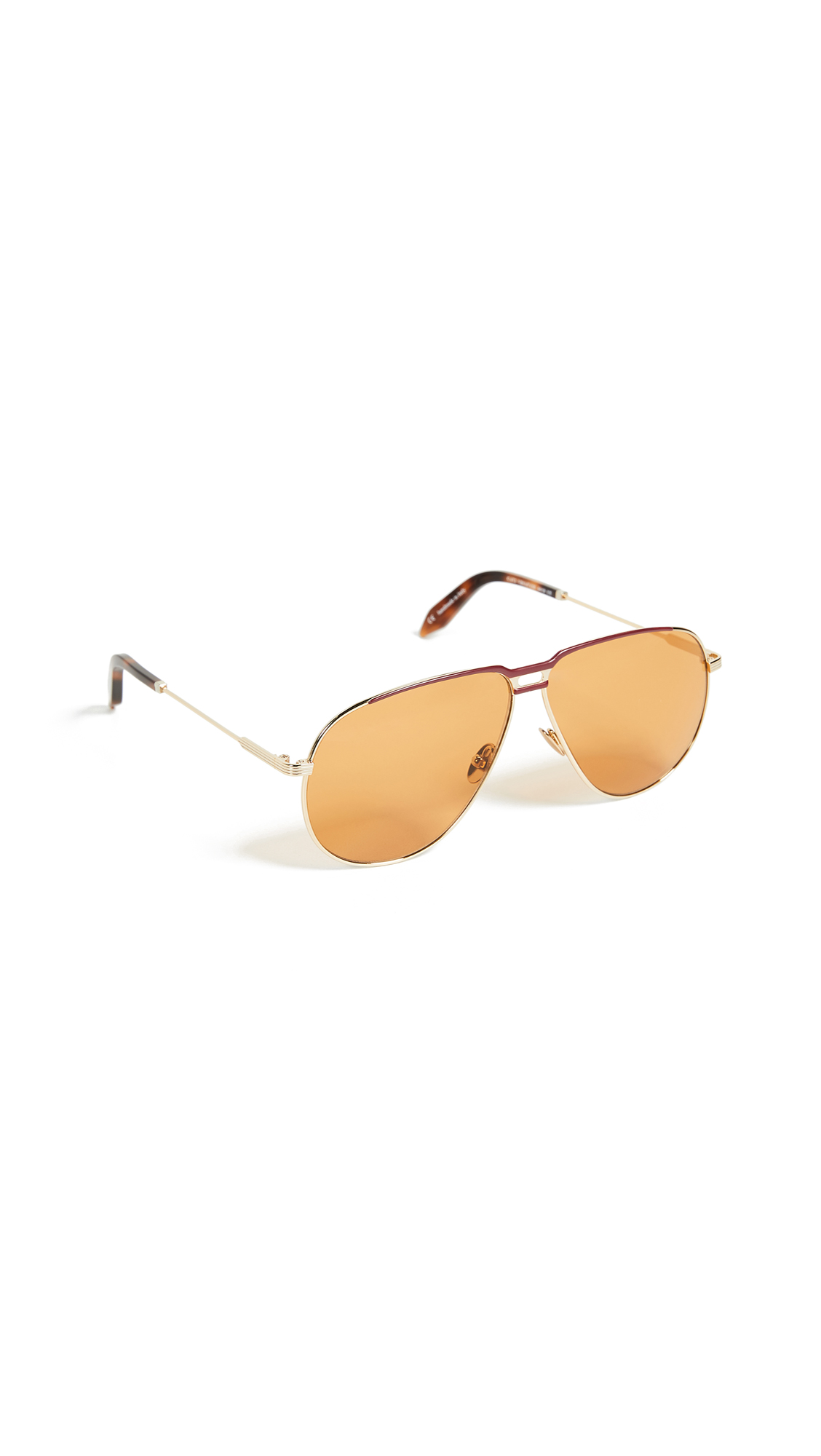 Victoria Beckham Jet Set Aviator Sunglasses - Caramel & Blonde Gold