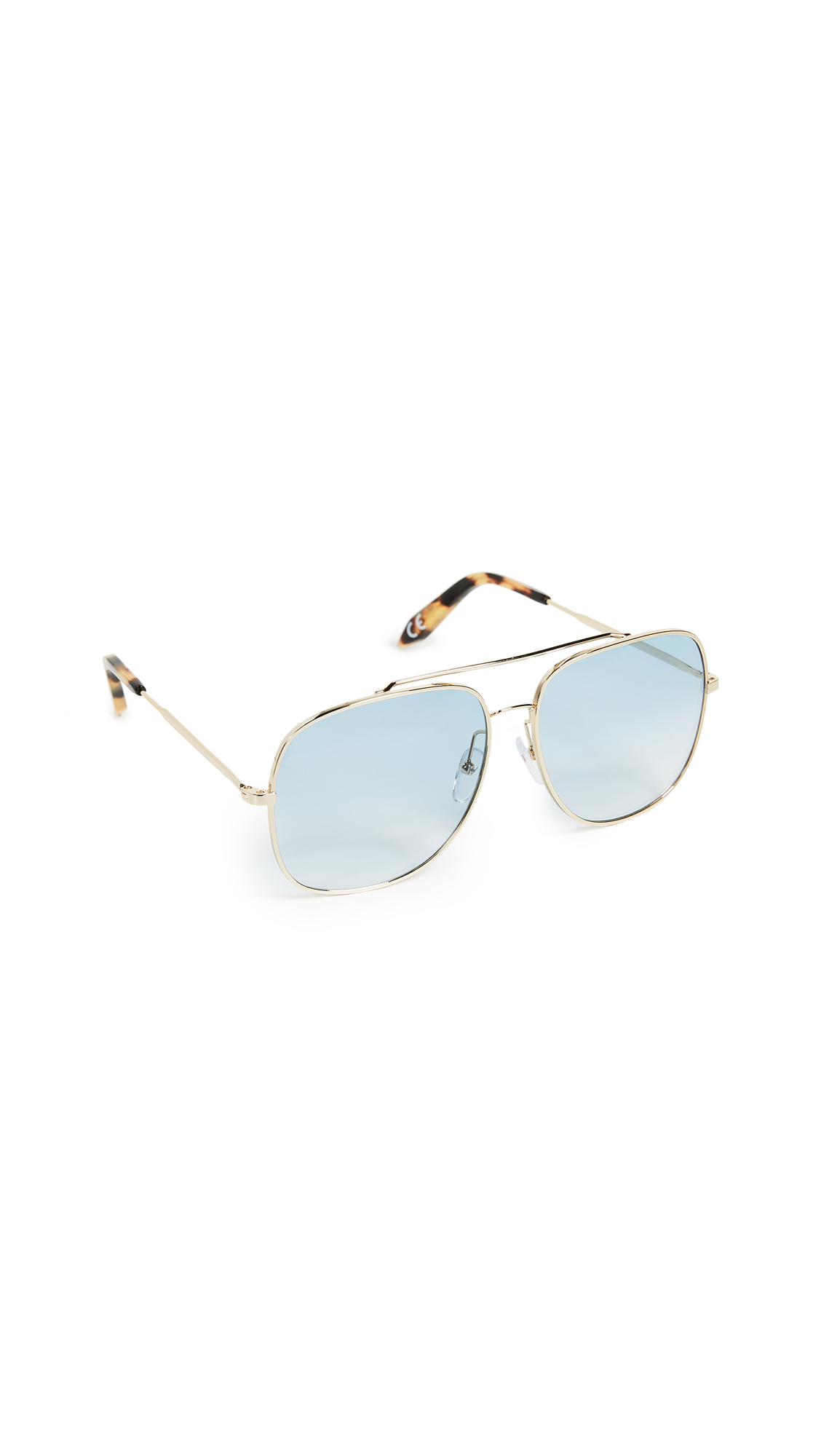 Victoria Beckham Power Frame - Metal Navigator Sunglasses - Pale Blue Grad