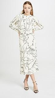 Victoria Beckham Миди-платье с длинными рукавами «летучая мышь»