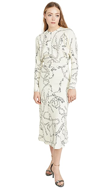 Victoria Beckham Long Sleeve Dolman Midi Dress