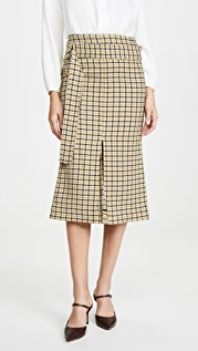 Victoria Beckham Belted Fitted Box Pleat Midi Skirt