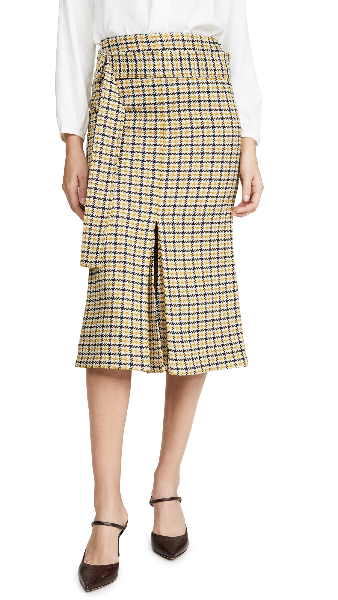Buy Victoria Beckham online - photo of Victoria Beckham Belted Fitted Box Pleat Midi Skirt
