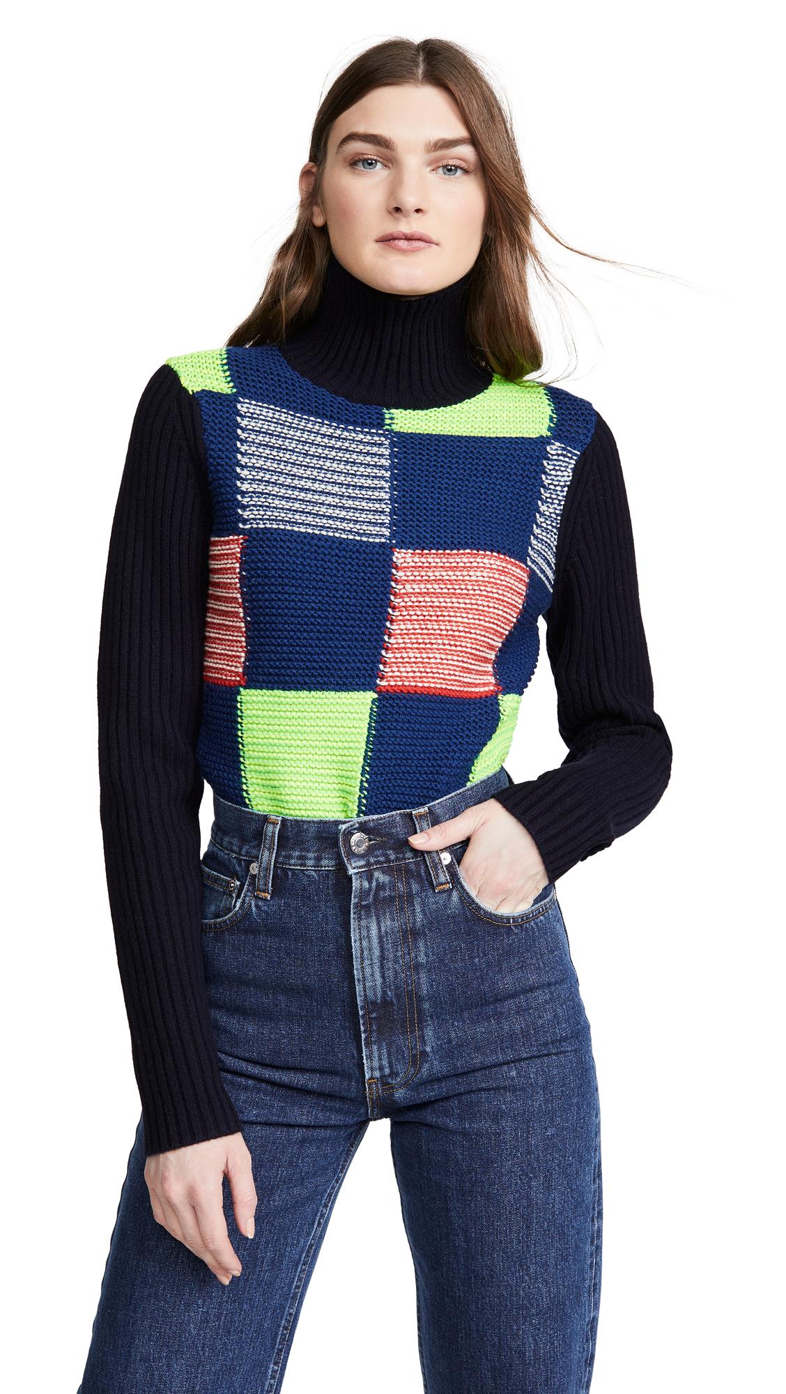 Buy Victoria Beckham online - photo of Victoria Beckham Patchwork Polo Neck Sweater