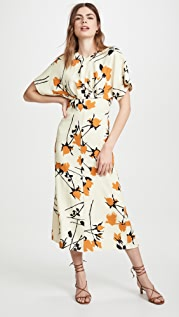 Victoria Beckham Printed Batwing Midi Dress