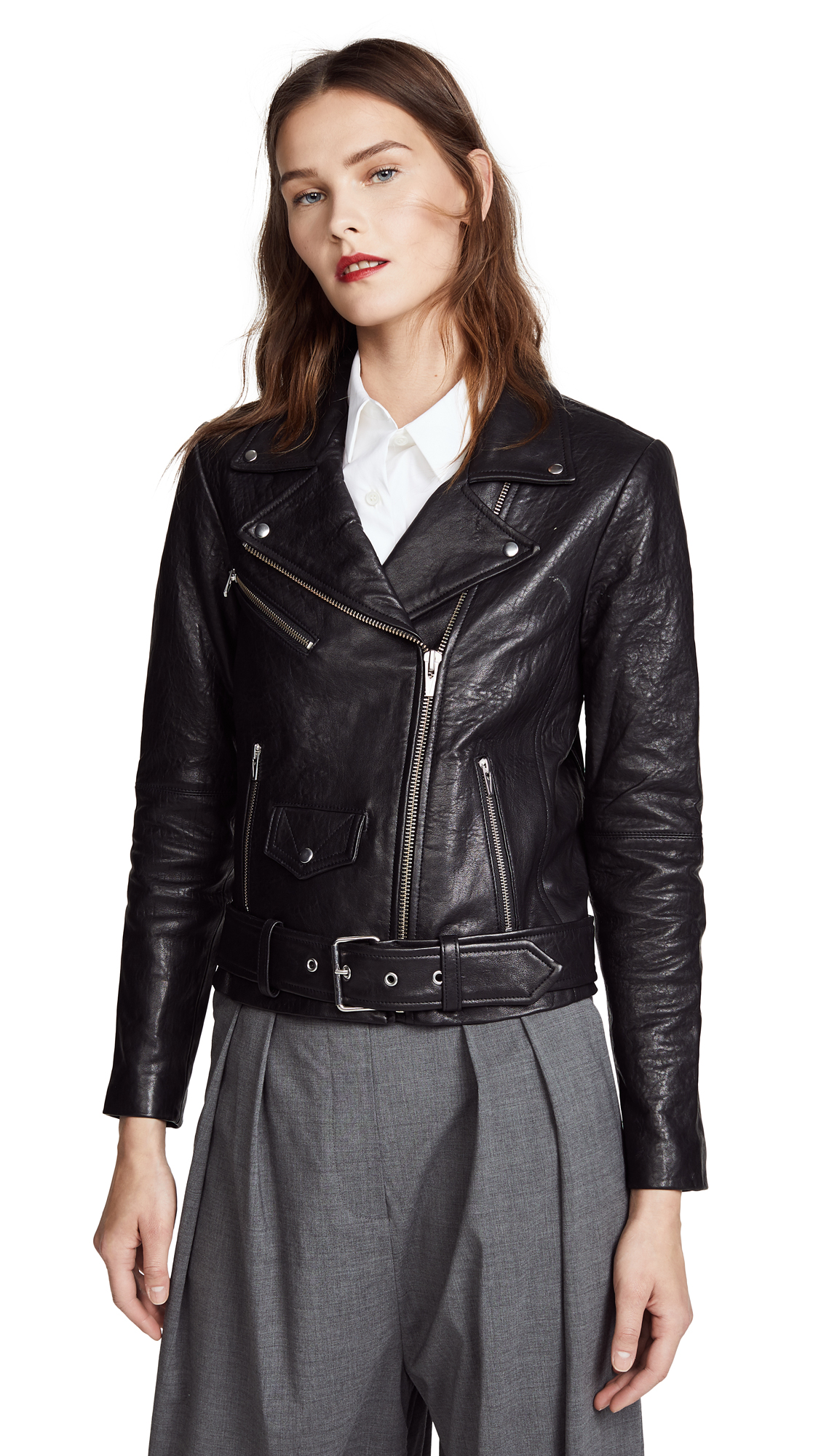VEDA Jayne Classic Leather Jacket - Black