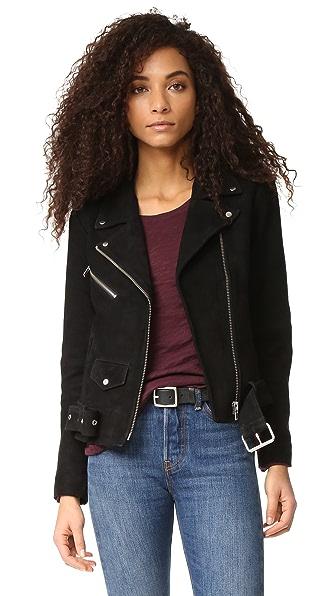 VEDA Jayne Classic Suede Jacket In Black