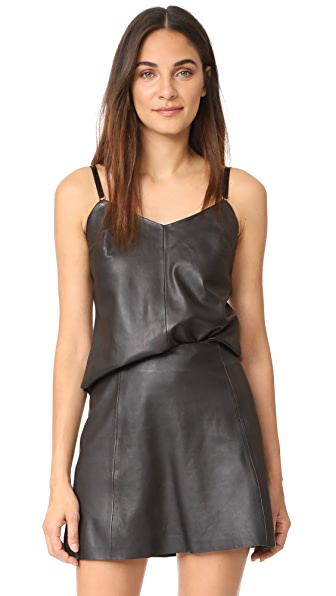 VEDA Leather Camisole - Black