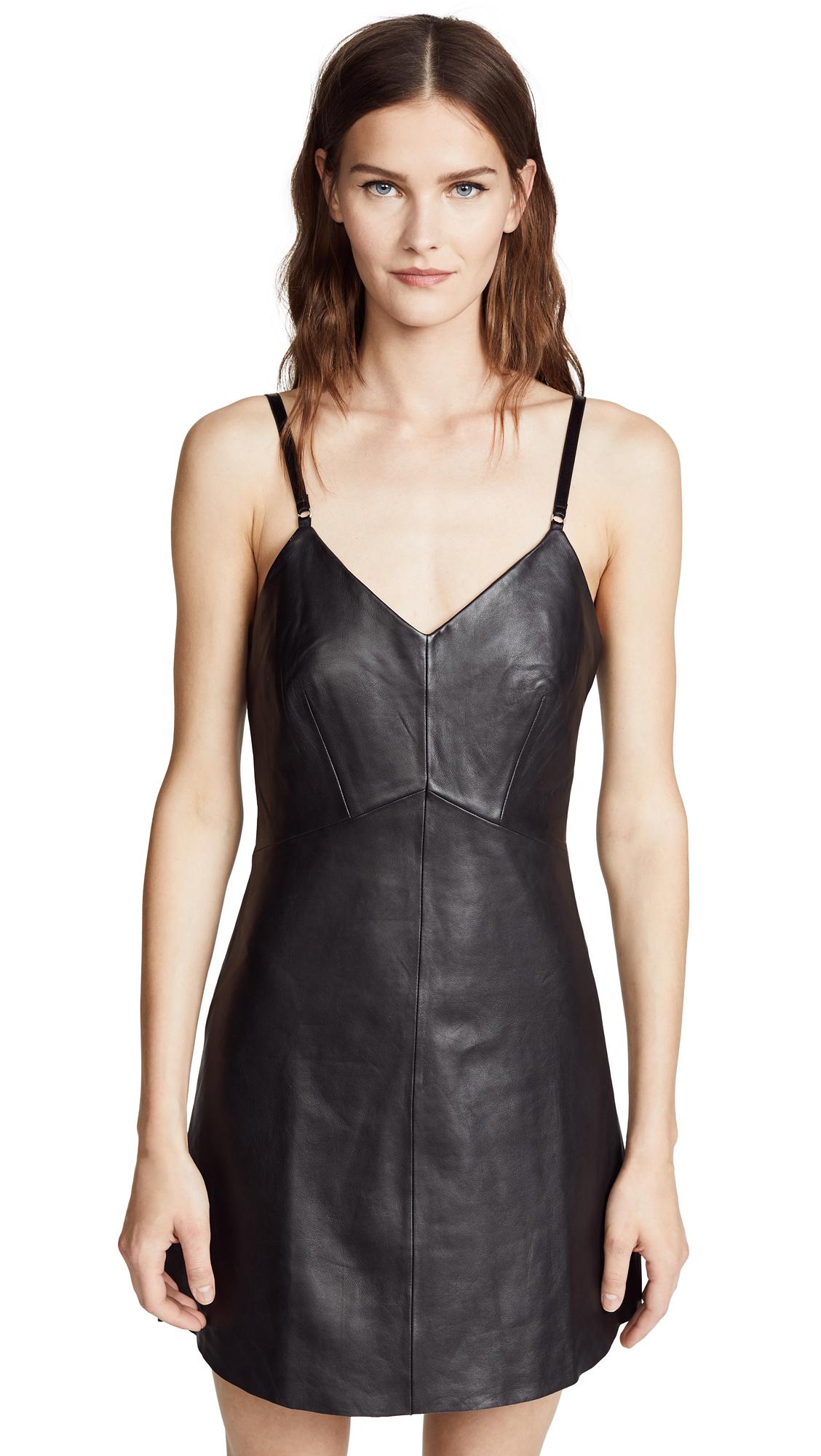 VEDA Leather Slip Dress - Black