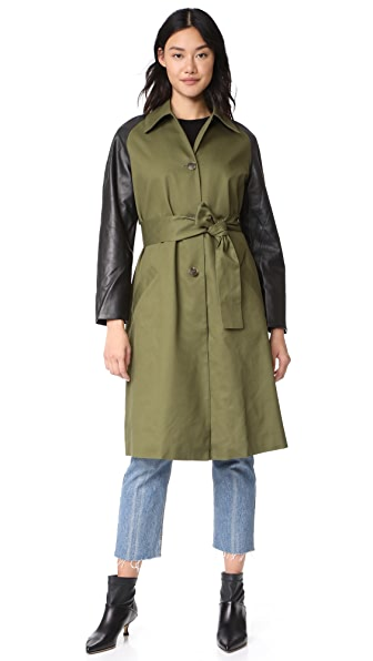 VEDA Army Trench Coat In Army/Black