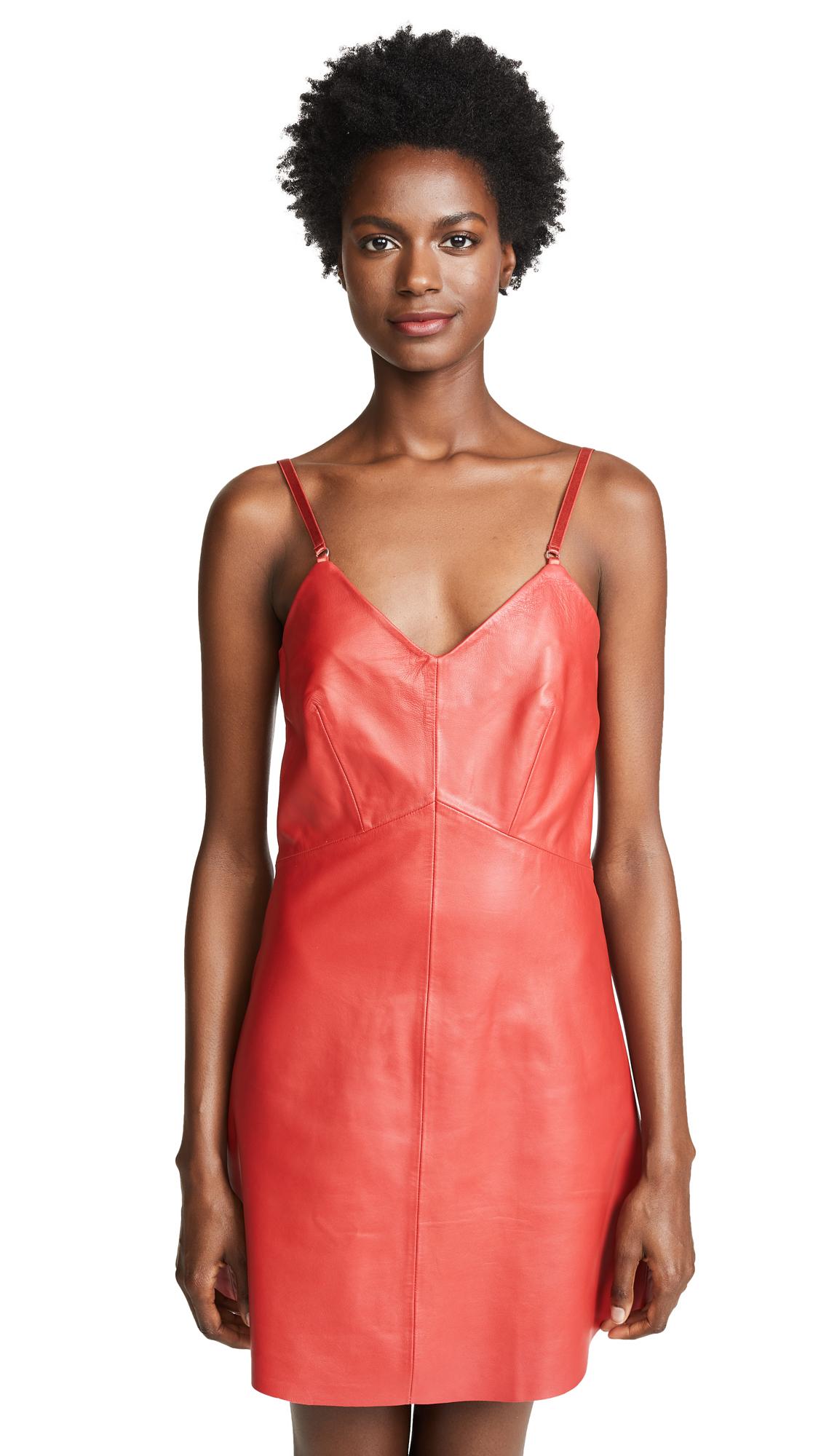 VEDA Leather Slip Dress In Red