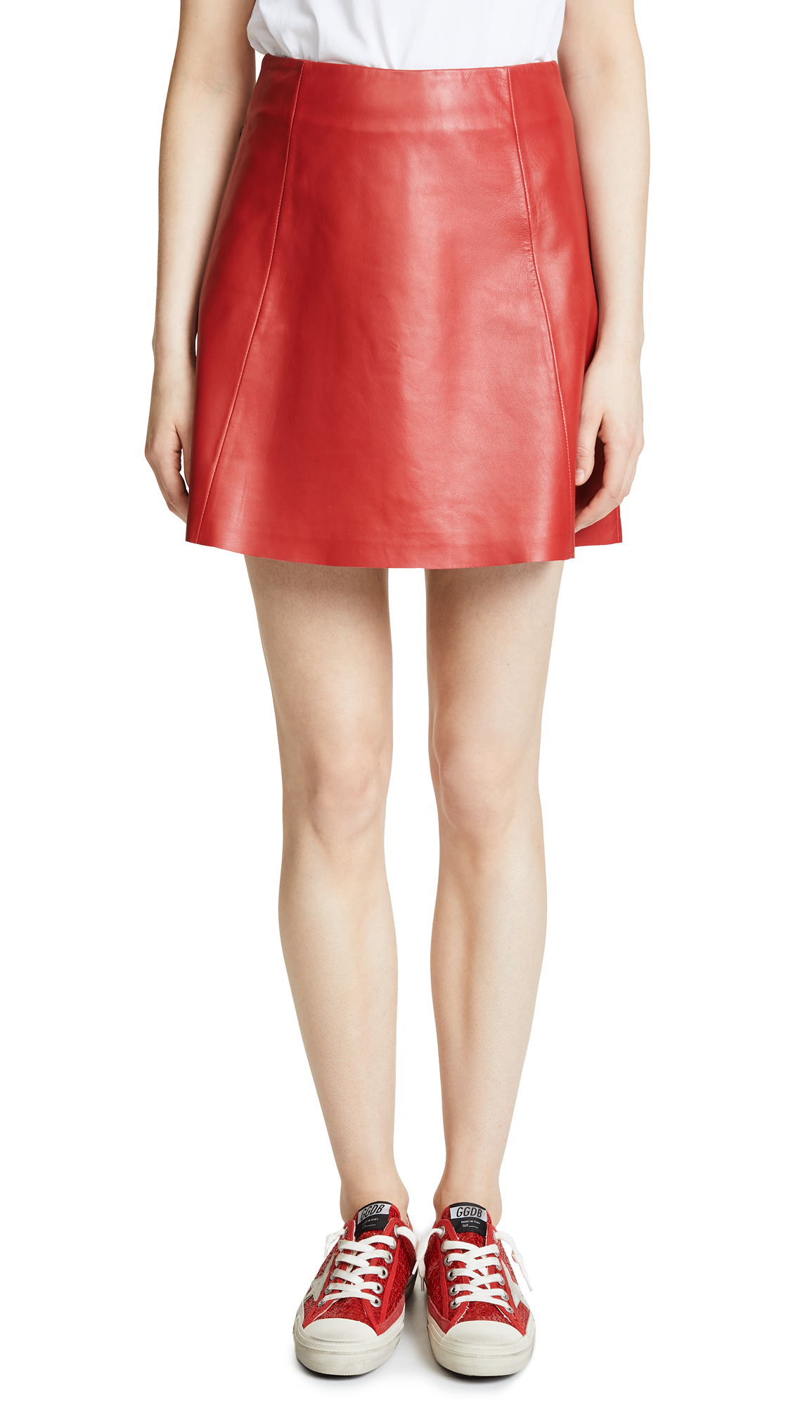 VEDA Leather Circle Mini Skirt In Red