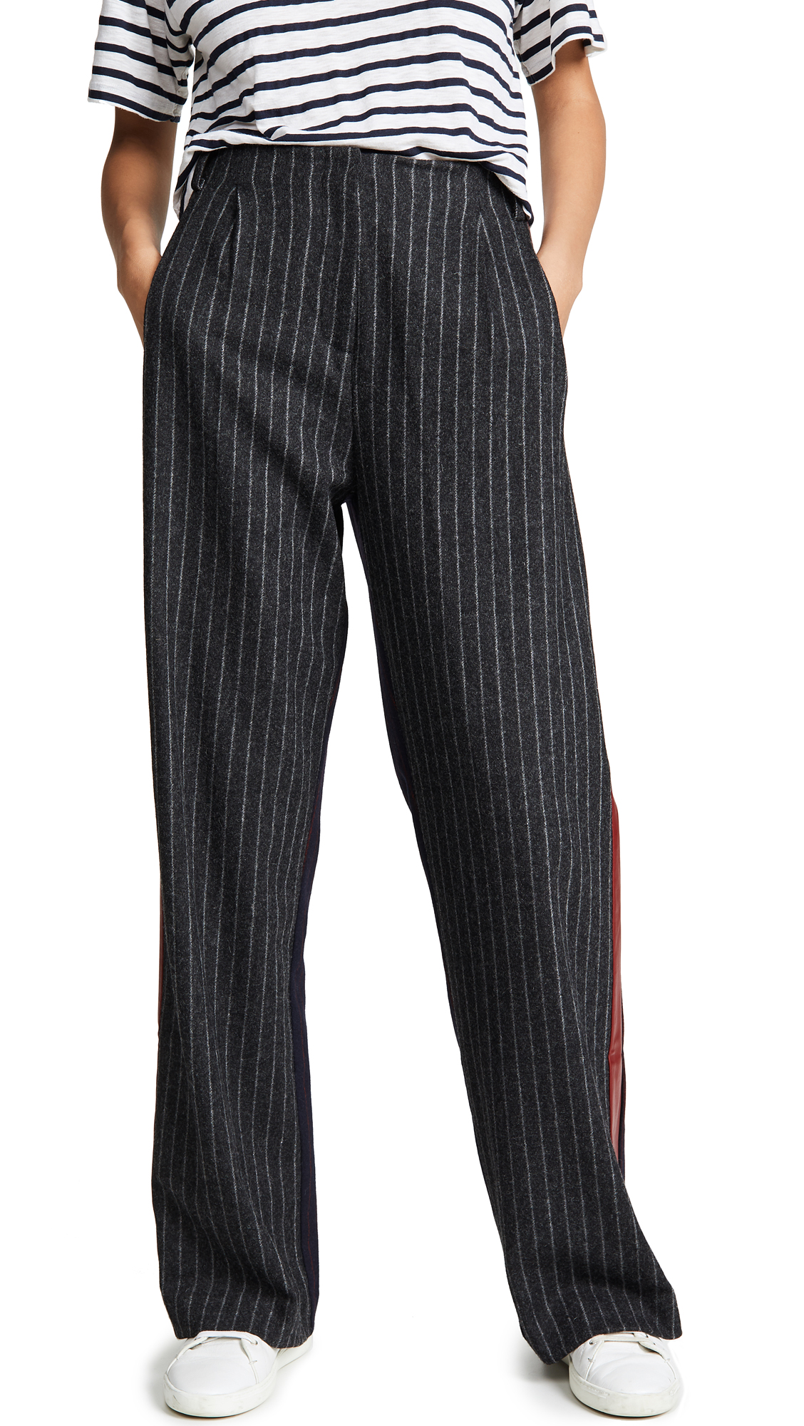 VEDA Executive Pants in Charcoal/Navy With Crimson