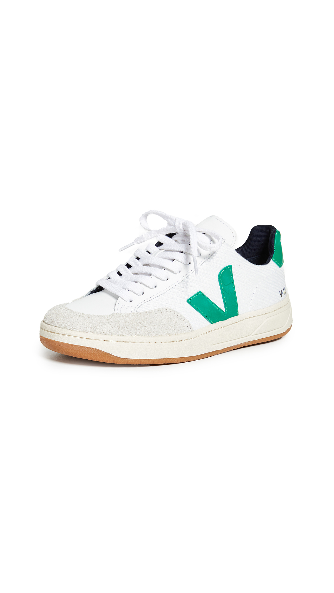 Veja V-12 Sneakers In White/Emeraude