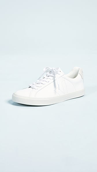 Veja Net Sustain Esplar Suede-trimmed Leather Sneakers In Extra White