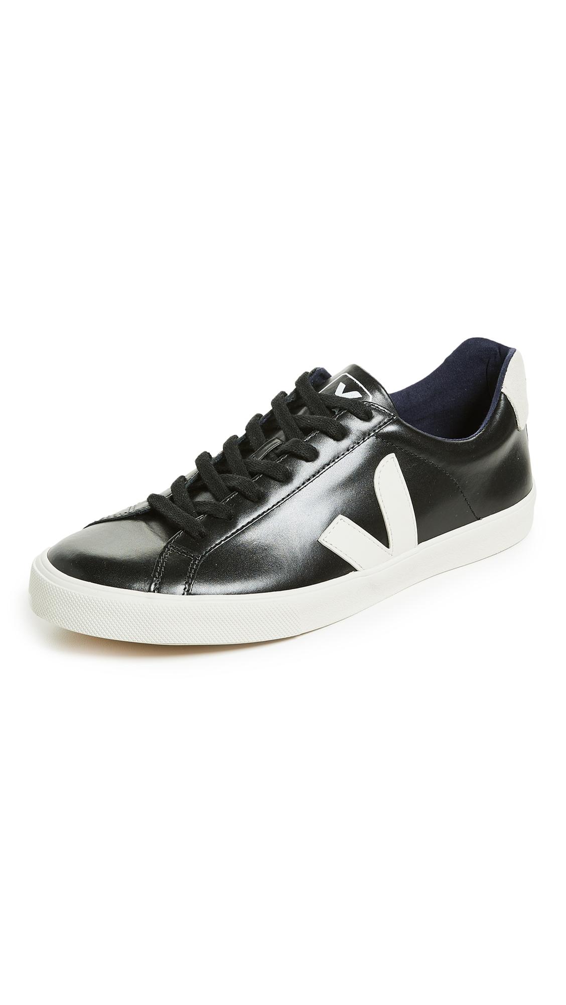 VEJA V-12 Bastille Rubber-Trimmed Leather Sneakers - Black