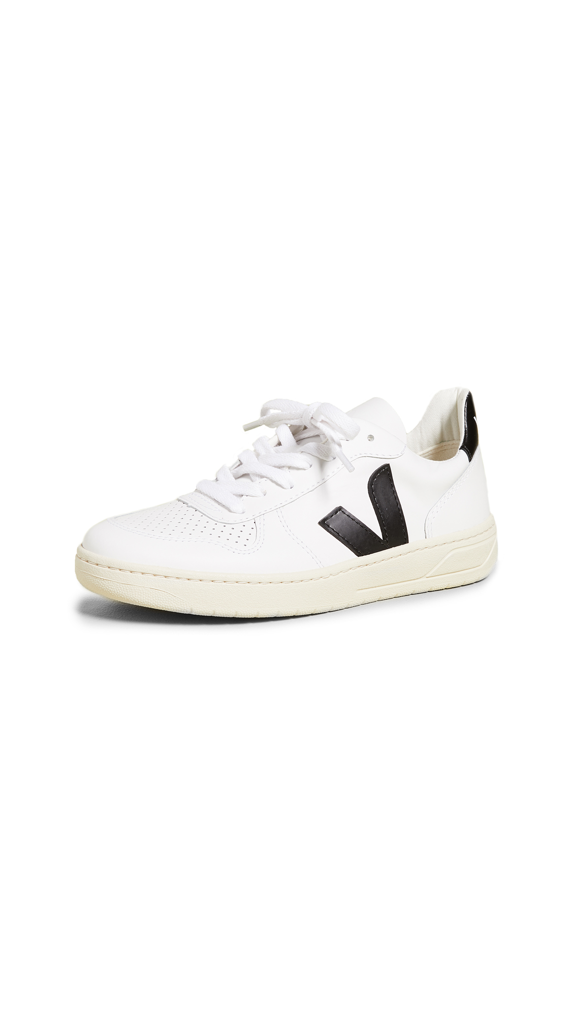 Veja V-10 Lace Up Sneakers - Extra White/Black
