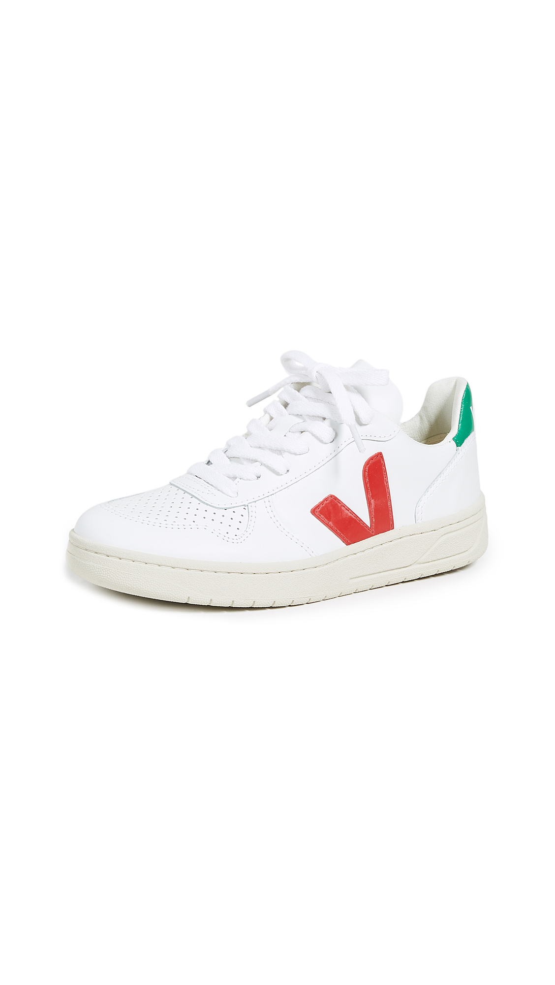 Veja V-10 Lace Up Sneakers - Extra White/Pekin/Emeraude