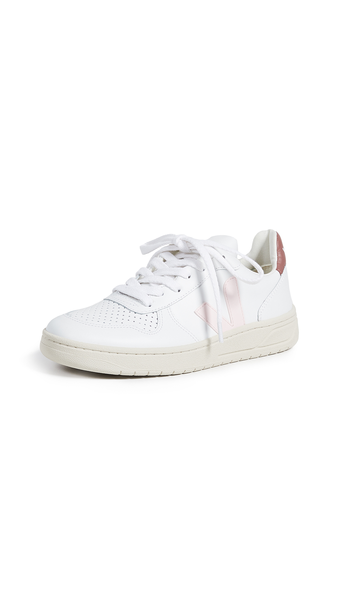 Veja V-10 Lace Up Sneakers - Extra White/Petale/Dried Petal