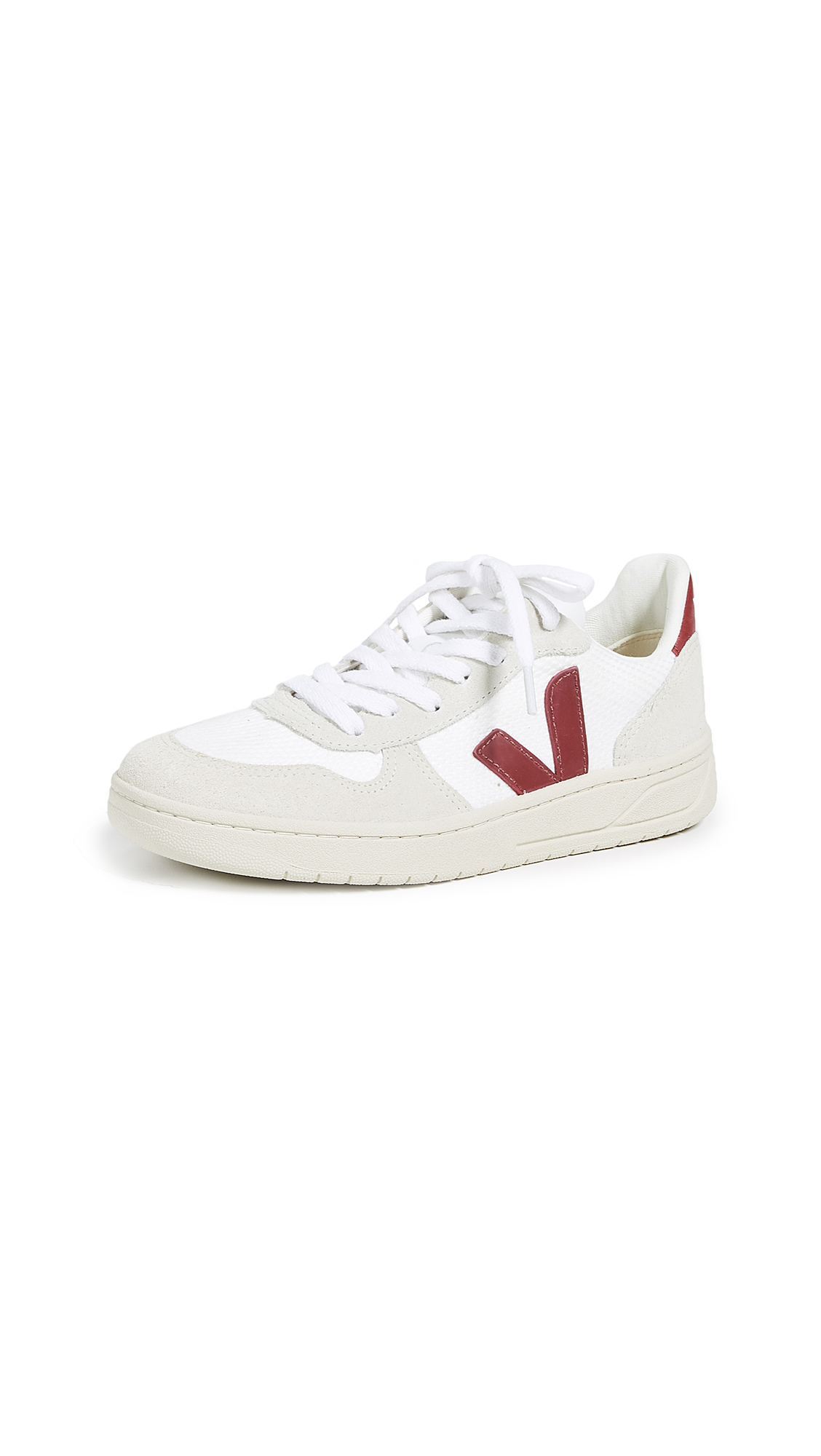 Veja V-10 Lace Up Sneakers - White/Marsala
