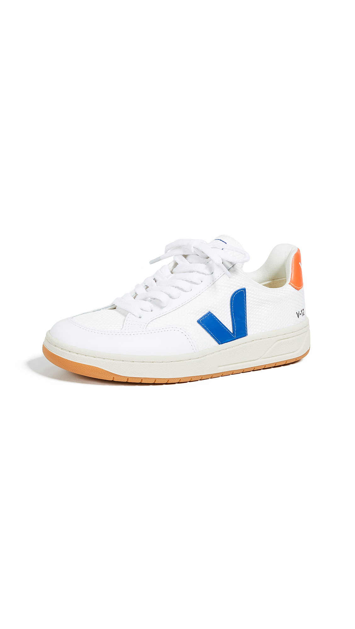 Veja V-12 Lace Up Sneakers - White/Indigo/Orange/Fluo