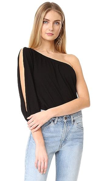 Velvet Honie One Shoulder Top - Black