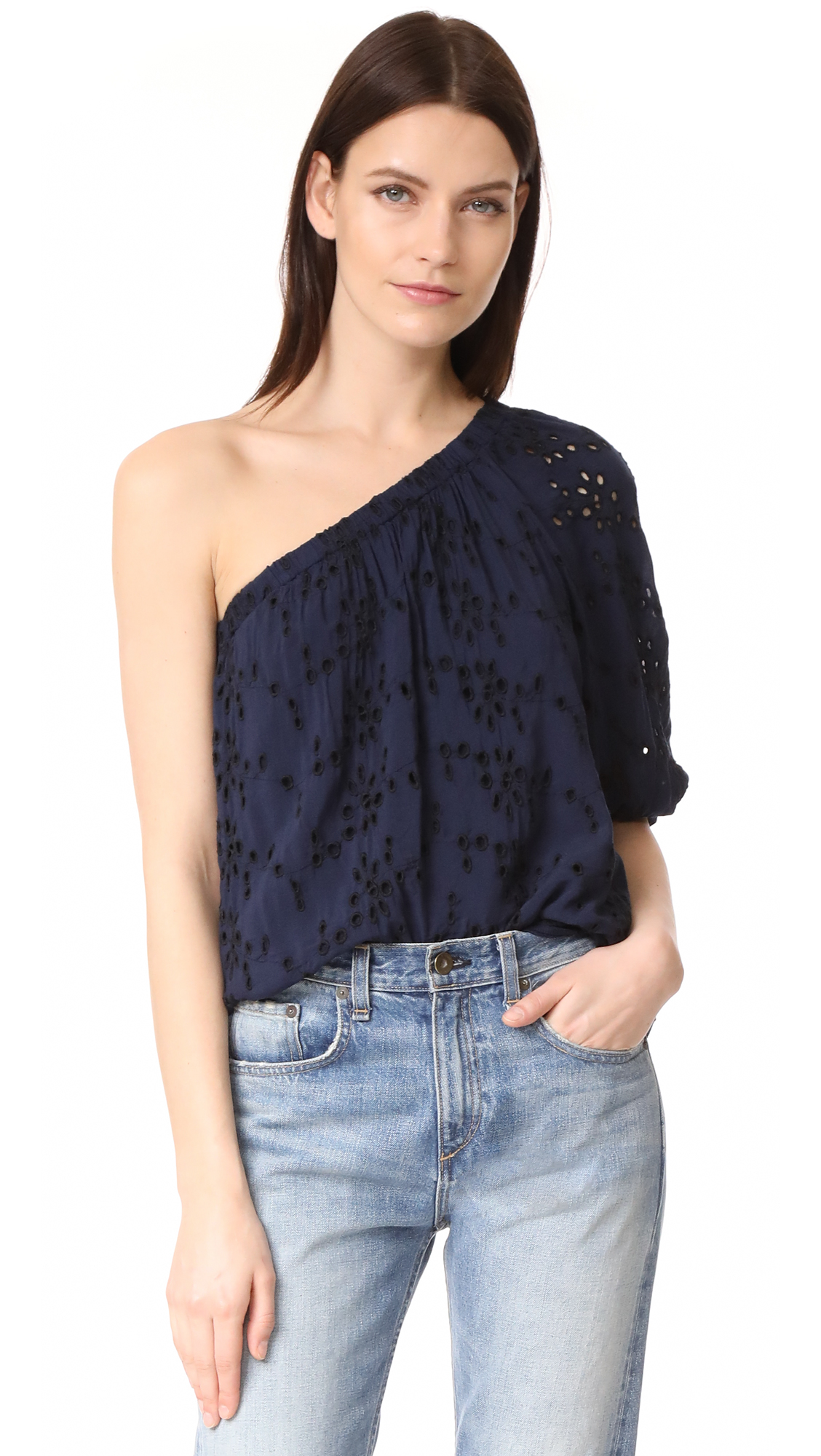 Velvet Maya Blouse - Navy/Black