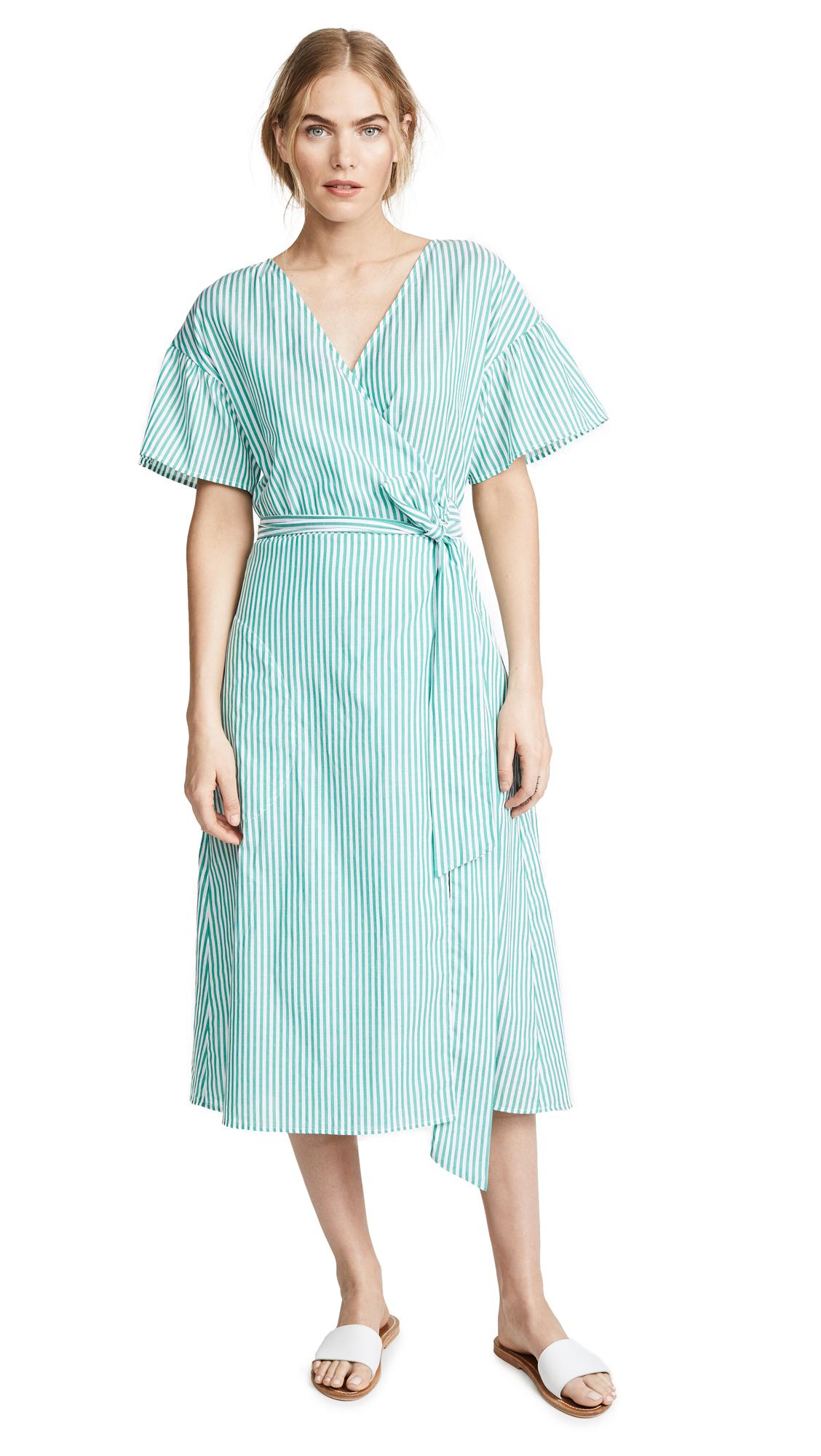 Velvet Jayel Striped Dress In Green