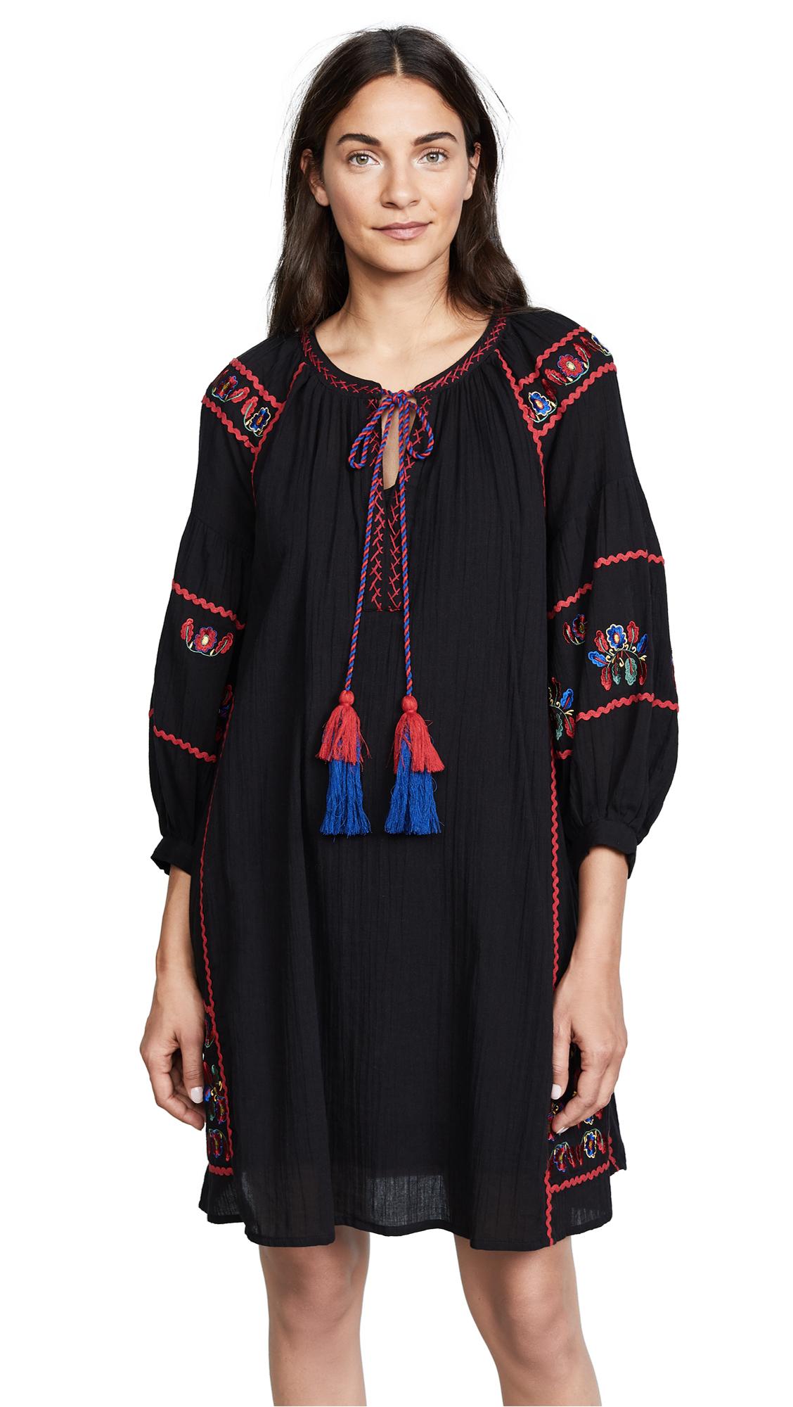 Velvet Embroidered Dress In Black