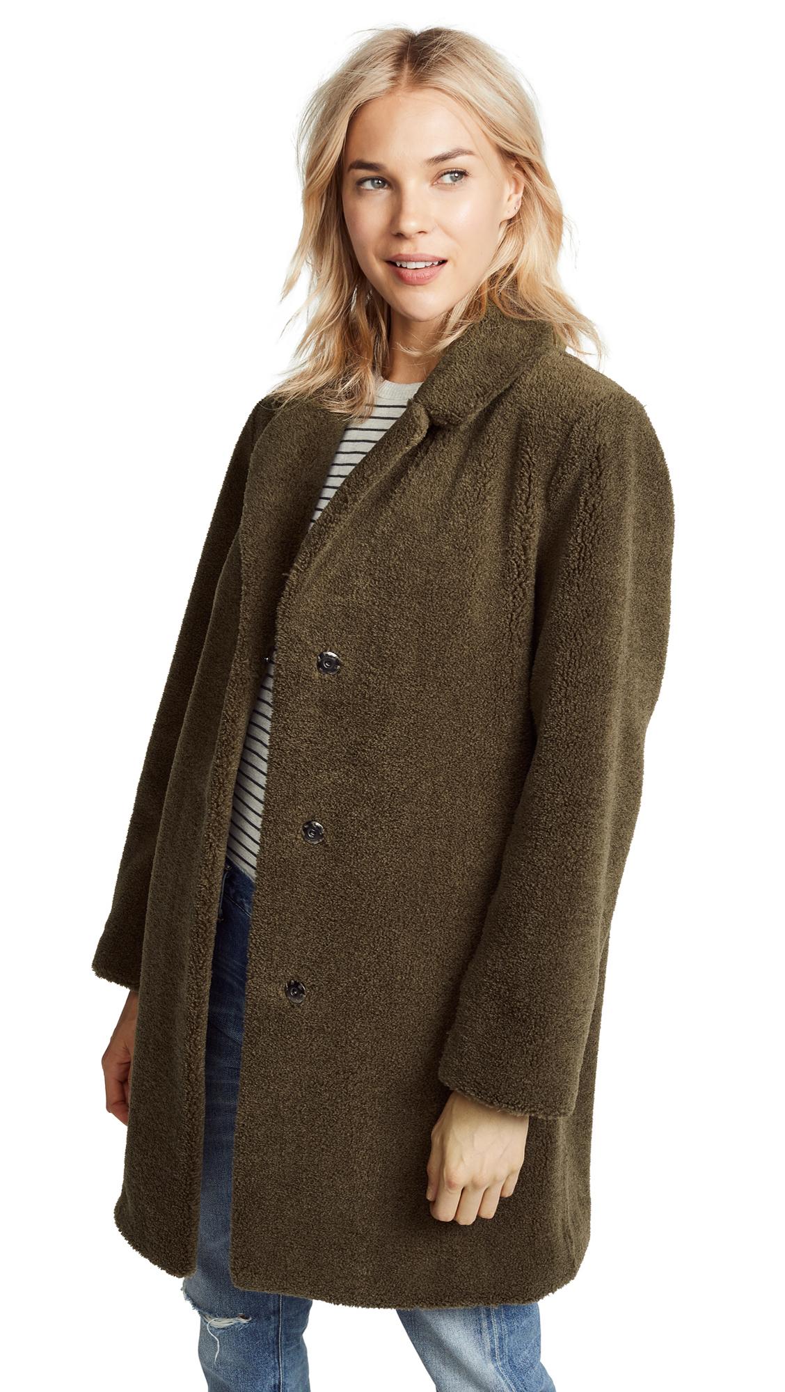 Velvet Trishelle Sherpa Coat In Olive