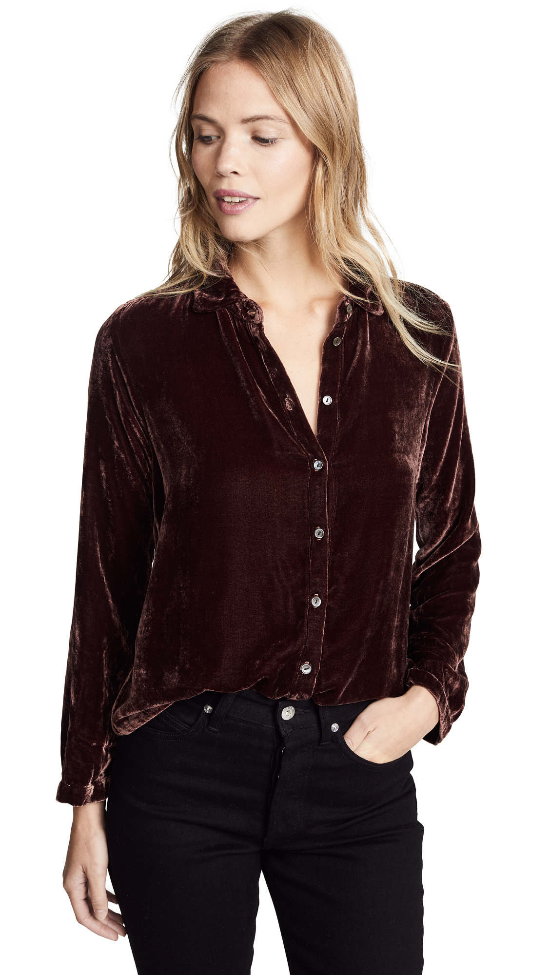 Velvet Jensine Button Down Shirt - Vino