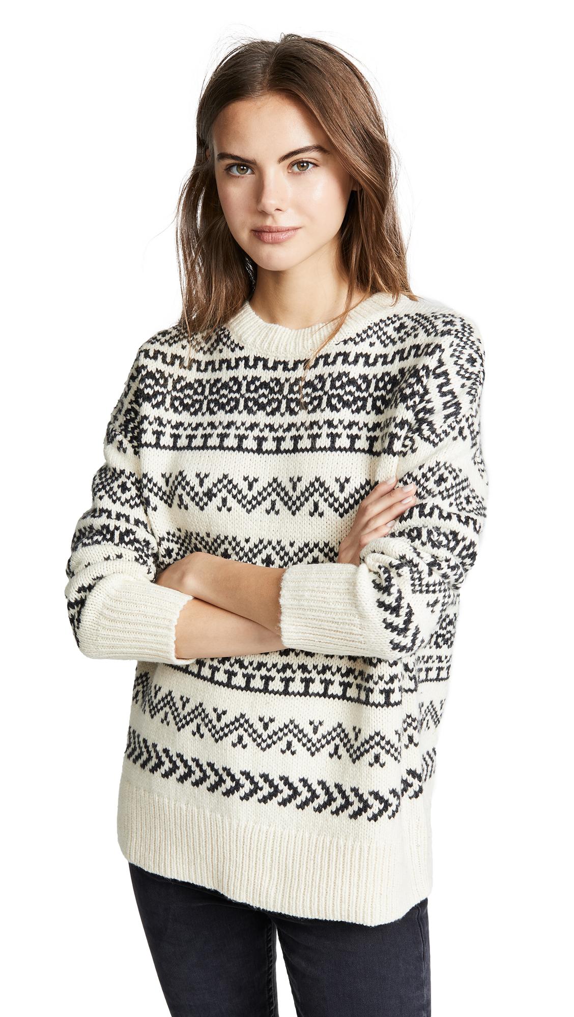 Velvet Yetta Fair Isle Sweater In Milk