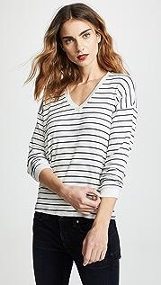 Velvet Modesty 条纹长袖 T 恤