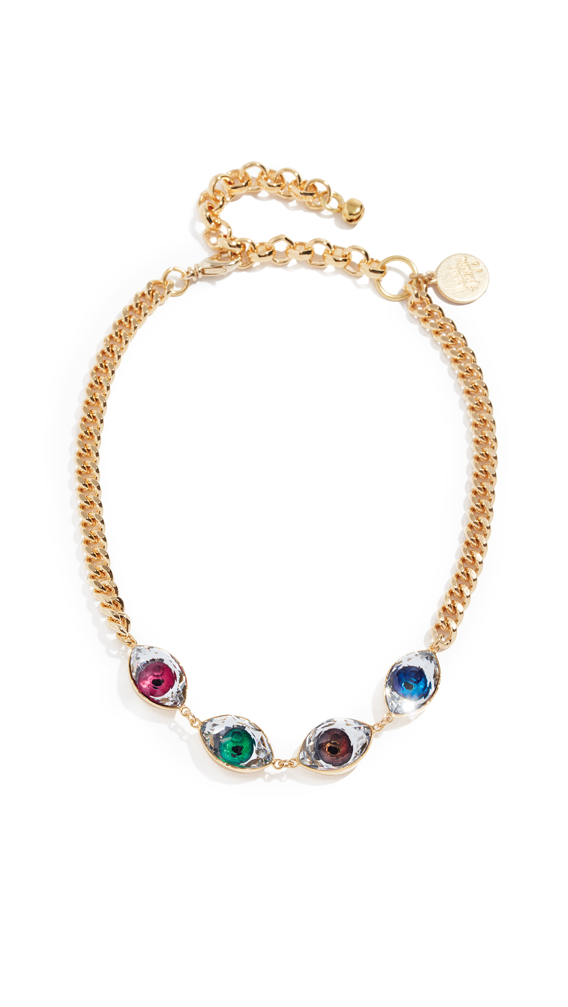 VENESSA ARIZAGA Rainbow Eyes Necklace in Gold/Multi
