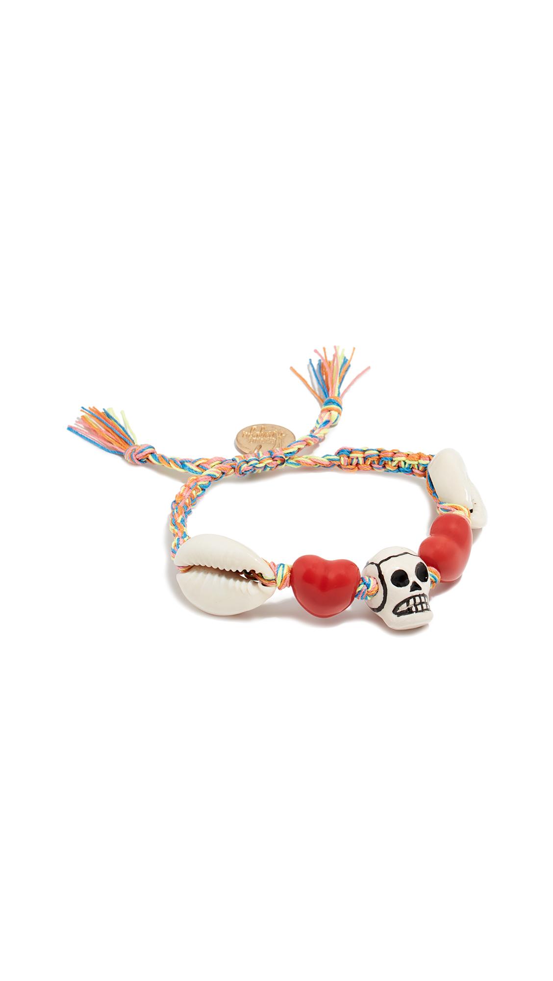 VENESSA ARIZAGA Skull Heart Bracelet in Red/Cream