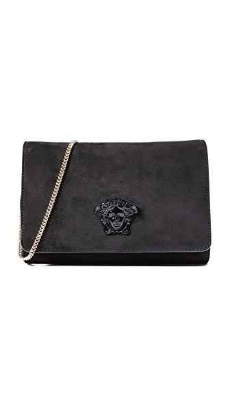 Versace Suede Clutch - Black/Gold