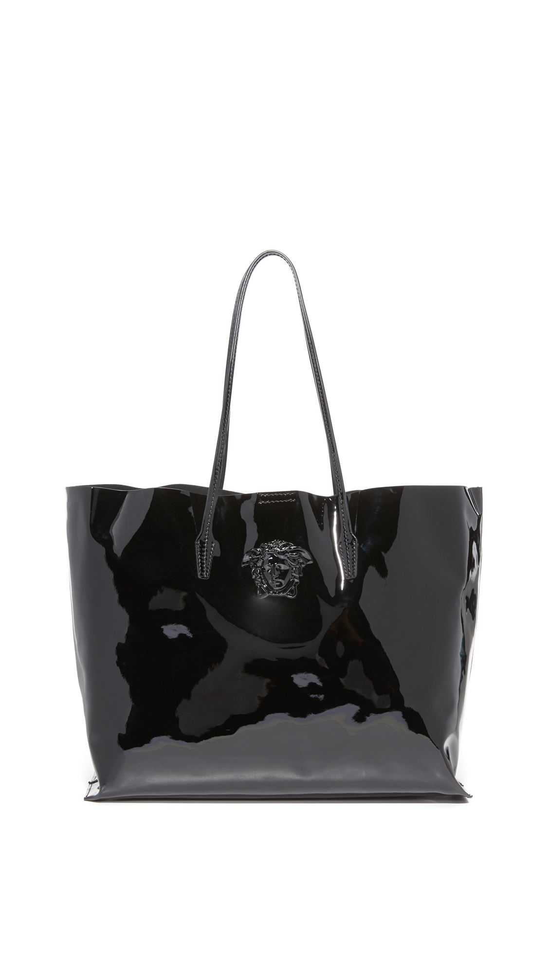versace female versace leather tote blacksilver