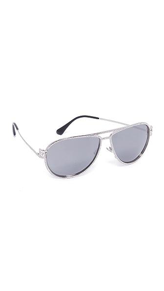 Versace Солнцезащитные очки-авиаторы Greca Strass