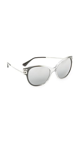 Versace Зеркальные солнцезащитные очки Greca со стразами