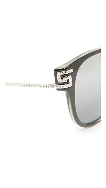 Versace Greca Strass Mirrored Sunglasses